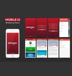 mobile app breaking news material design ui ux vector image
