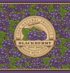 vintage blackberry label on seamless pattern vector image