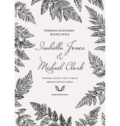 Vintage wedding invitation in a rustic style vector