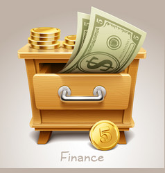 wooden drawer for finance icon vector image vector image