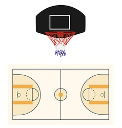 Basketball court and black hoop vector