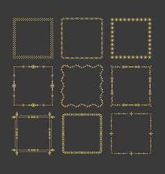 golden christmas square frames emblem icons set vector image