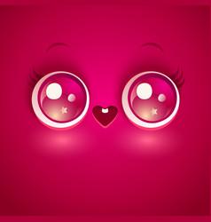 kawaii love face vector image