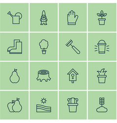 Set of 16 holticulture icons includes rake hang vector
