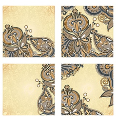 set of four hand draw ornate flower vector image vector image