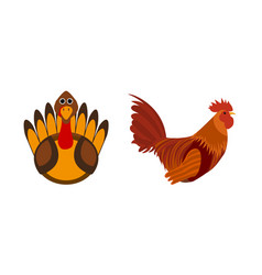turkey bird and rooster silhouette of cock vector image