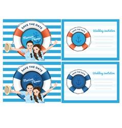 Wedding card invitation in blue sea theme vector image vector image