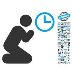 Pray Time Flat Icon With Bonus vector image