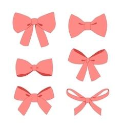 Set of pink vintage gift bows wih ribbons vector image vector image