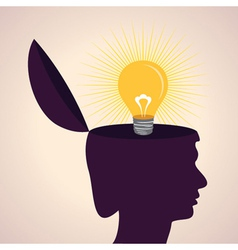 thinking concept-Human head with bulb symbol vector image