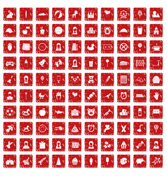 100 child center icons set grunge red vector image