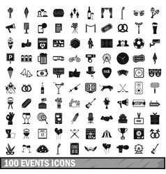 100 events icons set simple style vector