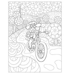 Adult coloring bookpage a dog wearing a cap and vector