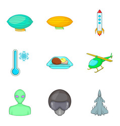 arrival from space icons set cartoon style vector image