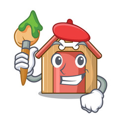 artist cartoon funny dog house with dish vector image