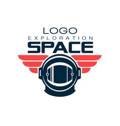Astronaut s protective helmet logo space vector