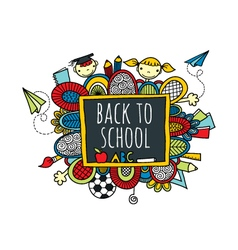 Back to School Blackboard Hand Drawn Doodle Bright vector image