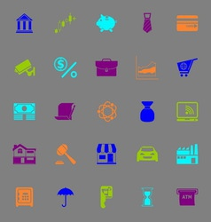 Banking and financial color icons on gray vector image