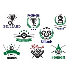 Billiard game or poolroom icons and symbols vector image