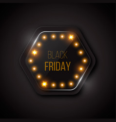 black friday banner on a glass button with vector image