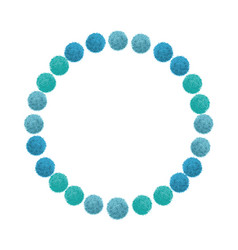 Blue birthday party pom poms circle set and vector