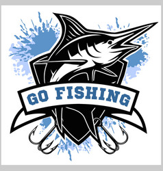 Blue marlin fishing logo vector