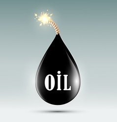 bomb with a wick in the form of oil droplets vector image