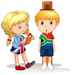 Boy and girl measure the height vector