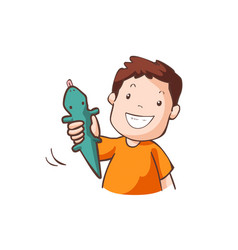 Boy in orange t-shirt with green rubber gecko vector