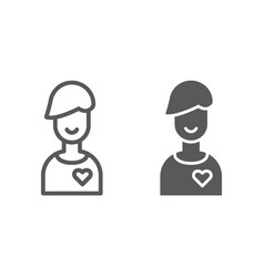 boyfriend line and glyph icon male and romance vector image