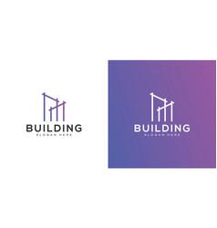 Building logo design mono line vector