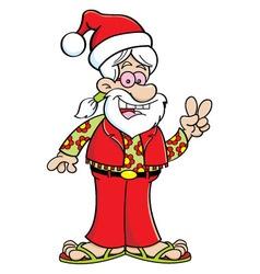 Cartoon hippie wearing a Santa hat vector image