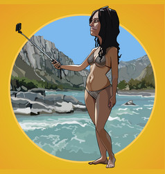 cartoon woman in a swimsuit takes a picture vector image vector image