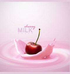 Cherry falling in the yogurt vector