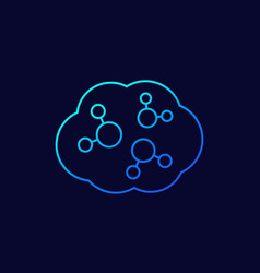 Co2 cloud line icon vector