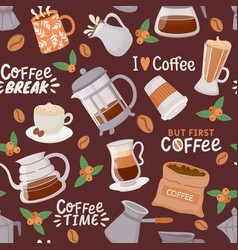 coffee seamless pattern cup with cappuccino vector image
