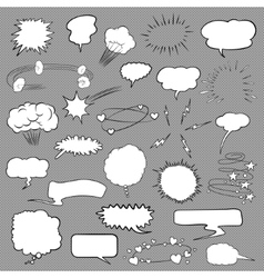 Comic bubbles and elements set vector