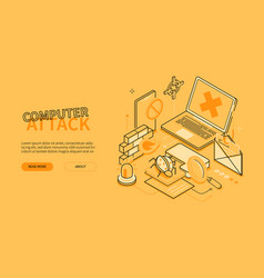 Computer attack - line design style isometric web vector