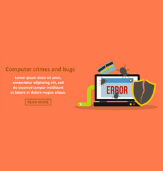 computer crimes and bugs banner horizontal concept vector image