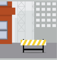 Construction scene warning sign vector