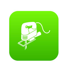 Corded jig saw icon green vector