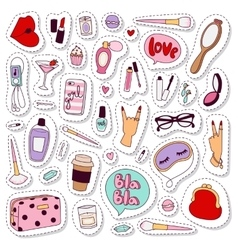 Cosmetic stickers set vector