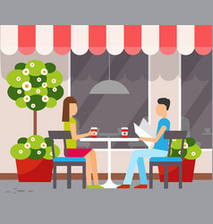 Couple in cafe at table outdoors summer terrace vector