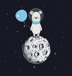Cute bear with balloon stand on moon vector
