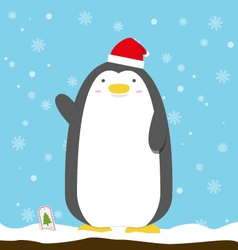Cute big fat penguin wear christmas hat standing vector