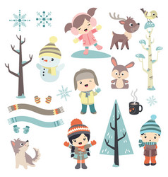 Cute children in winter time vector