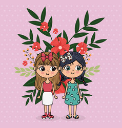 cute girls couple characters with floral vector image