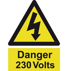 Danger 230 Volts Safety Sign vector image