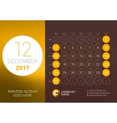 December 2017 Desk Calendar for 2017 Year vector image