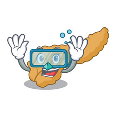 Diving pancreas character cartoon style vector